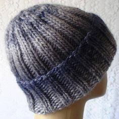 4040bb6b Blue gray wool watch cap, mens womens knit hat, toque, slouchy hat, wool hat,  winter hat, brimmed beanie hat, striped hat, blue gray hat, V2