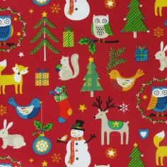 Novelty Character Animal Christmas Fabric with snowmen, reindeers and christmas trees..Lovely for childrens christmas stockings or sacks