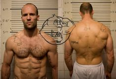 The Jason Statham workout for a Hollywood physique involves calisthenics, sprints, jump-rope, etc. Here you can find his workout and training methods. Jason Statham Tattoos, Jason Statham Body, Jason Statham Movies, Workout Days, Workout Guide, Workout Routines, Bruce Jenner, Jason Stratham, Steroids Cycles