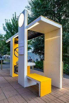 Millenial Bus Stop City Furniture, Urban Furniture, Street Furniture, Theme Design, Booth Design, Urban Landscape, Landscape Design, Landscape Architecture, Architecture Design