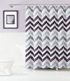 Corso Purple Plum Gray White Chevron 100 Cotton Fabric Shower Curtain