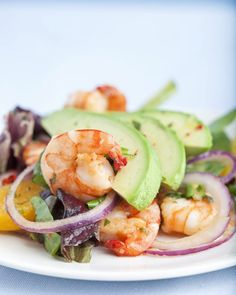 Along with being quick and easy, chef Emeril Lagasse's seared shrimp salad is a light and refreshing meal on a warm-weather evening. The sweet and savory dressing includes orange juice, honey, soy sauce, and chile flakes for kick.