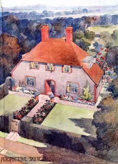 detached cottage-style house, this website is a great resource for styles and such Cottage Front Garden, Cottage Gardens, Suburban House, 1920s House, Storybook Cottage, Cottage Style Homes, English House, Arts And Crafts Movement, Cozy Cottage
