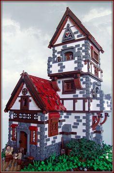 Leodasham Manor- Love that it's made out of legos! Minecraft Castle, Lego Castle, Hama Beads Minecraft, Perler Beads, Legos, Chateau Lego, Lego Burg, Casa Lego, Lego Dragon