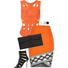 Orange you glad I came to slay by fashionkill21 on Polyvore featuring polyvore fashion style River Island Hervé Léger Balmain Hermès Auriya
