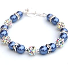 Periwinkle Blue Bling Bracelet, Bridesmaid Gifts, Pearl Rhinestone Jewelry, Bridal Party. $24.00, via Etsy.