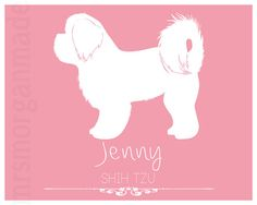 Shih Tzu Personalized Dog Silhouette Art, Dog Memorial, Custom Pet Art, Gift For Dog Lover, Custom Dog Portrait, Dog Home Decor, Pet Lover by MrsMorganMade
