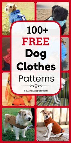 Dog DIY: 100+ free dog clothes patterns, tutorials, and diy sewing projects. Sew dog t-shirts, dresses, coats, costumes, booties, and more, for both large and small dogs. Instructions for how to make dog clothes. #SewingSupport #DogClothes #DogDiy #Dog #Clothes#SewingPatterns #SewingProjects