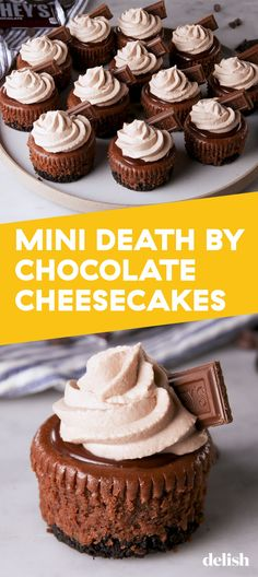 Death By Chocolate Cheesecakes Mini Death By Chocolate Cheesecakes Are Worth Dying ForDelish.Mini Death By Chocolate Cheesecakes Are Worth Dying ForDelish. Mini Desserts, Just Desserts, Delicious Desserts, Mini Chocolate Desserts, Rainbow Desserts, Finger Desserts, Mexican Desserts, Cherry Desserts, Healthy Desserts