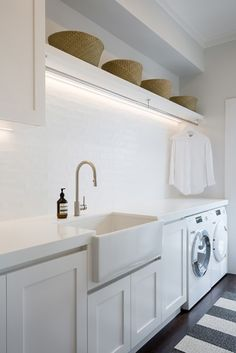 A fresh, Hamptons style laundry with ample hanging space. Notice the clever stri… A fresh, Hamptons style laundry with ample hanging space. Notice the clever strip lighting above. Mudroom Laundry Room, Laundry Room Remodel, Farmhouse Laundry Room, Laundry In Bathroom, Laundry Nook, Small Laundry, Budget Bathroom, Mudrooms With Laundry, Laundry Room Makeovers