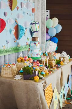 Up in the air so high! Paper backdrop / kite banner / cake pop stands by Tender Sender of Galleria  Dessert by Dessert Boutique