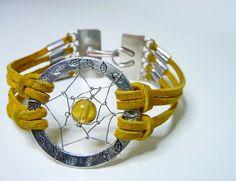 Yellow Leather Dreamcatcher Bracelet with Clasp by DreamAlchemies, $22.50
