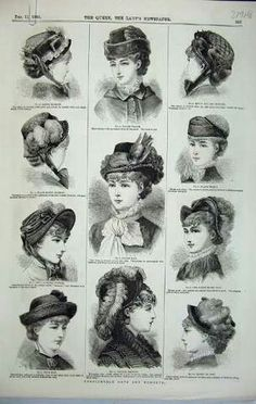 nice Old Antique Print Womens Fashion Hats 1880 Bonnet Toque Stockings Muff 1880s Fashion, Victorian Fashion, Vintage Fashion, Fashion Fashion, Victorian Hats, Victorian Costume, Historical Costume, Historical Clothing, Moda Vintage