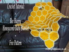 Crochet For Babies Crochet Tutorial: Bee Happy Honeycomb Baby Blanket Free Pattern - Crafting Happiness - Crochet Pattern: Bee Happy Honeycomb Baby Blanket Crochet Baby Blanket Beginner, Beginner Crochet Projects, Crochet Bee, Pikachu Crochet, Easter Crochet, Single Crochet Stitch, Crochet Blanket Patterns, Crochet Afghans, Crochet Blankets