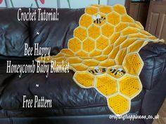Crochet For Babies Crochet Tutorial: Bee Happy Honeycomb Baby Blanket Free Pattern - Crafting Happiness - Crochet Pattern: Bee Happy Honeycomb Baby Blanket Crochet Baby Blanket Beginner, Beginner Crochet Projects, Crochet Bee, Pikachu Crochet, Easter Crochet, Crochet Blanket Patterns, Crochet Afghans, Crochet Blankets, Single Crochet Stitch