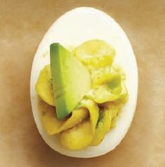 Deviled Avocado Eggs-is a great appetizer recipe for a different style of the classic deviled-egg. Summary: The egg yolks are mixed with chopped and mashed avocado, fresh lemon juice, mayonnaise, garlic powder, cayenne pepper and chilled. A simple and delicious recipe which can be used for any large gathering, holiday or event. This is also a healthy, low calories, low fat, low carbohydrates, low sodium, diabetic, Weight Watchers (2 SmartPoints) (2 PointsPlus) recipe. Makes (12) Servings.