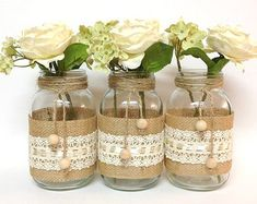 10x rustic burlap and black lace covered mason jar by PinKyJubb