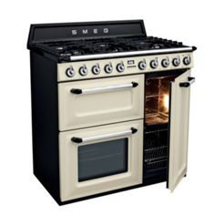Smeg Victoria Aesthetic Freestanding Dual Fuel Oven/Stove - FREE Delivery* with Appliances Online Dual Fuel Range Cookers, Small Grill, Door Grill, Kitchen Cooker, Cast Iron Wok, Stove Oven, Gas Stove, Victoria, Kitchens
