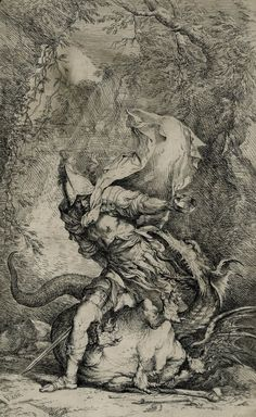 "1663-64, Salvator Rosa: ""Jason and the Dragon"". Etching with drypoint. Jason casts a sleeping potion given to him by Medea into the eyes of the dragon guarding the golden fleece."