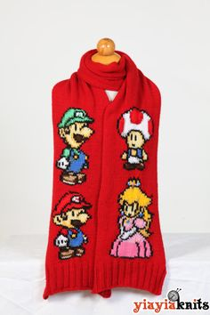 Super Mario Scarf Fan Edition by Yiayiaknits on Etsy