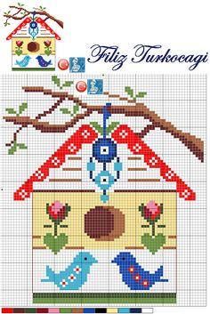 Herkese güzel bir hatfa sonu diliyorum :)) Designed by Filiz Türkocağı...( Bird House, Turkish evil eye )