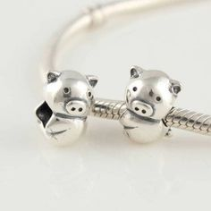 Amazon.com: Cute Pig 925 Sterling Silver Bead Charm for Pandora, Biagi, Chamilia, Troll and More Bracelets: Jewelry