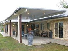 Image result for patio awning off the top of the roof