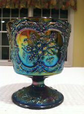*FENTON ART GLASS ~ RARE  Carnival glass footed vase purple blue green iridescent cobalt