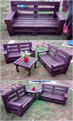 This wood pallet creation work is featuring out a brilliant view of the outdoor furniture for your household services. Pallet Furniture Outdoor Table, Pallet Furniture Designs, Wooden Pallet Projects, Diy Garden Furniture, Pallet Designs, Diy Furniture Projects, Outdoor Pallet, Wooden Furniture, Pallet Ideas