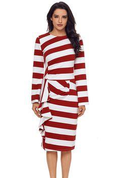 630ec5e9e7a Sexy Burgundy Striped Ruffle Side Back Slit Long Sleeve Midi Dress