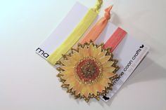 Sunflower Hair Ties Bohemian Hair Wrap Bracelet by MaineCoonCrafts, $19.00