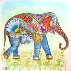 From Animal Kingdom coloring book... Derwent Coloursoft Pencils, Soft Pastels, and Spica Glitter Pens