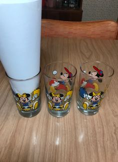 3 Mickey Mouse & Minnie Drink Glasses - Mercari: The Selling App
