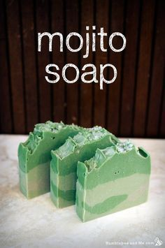 DIY Mojito Soap CP Recipe and Tutorial - a bright green bar that smells wonderfully fresh, with a lovely sprinkling of coarse sugar on the top for a hint of sweet sparkle.