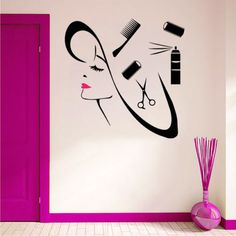 Wall Decal Girl Face Scissors Lips Decals Spa Beauty Salon Decor Sticker 22inchx22inch -- You can get additional details at the image link. #HomeDecor