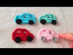 Crochet Knit Car Motif Magnet Making - süslemeler - Easter Crochet, Crochet Crafts, Crochet Toys, Knit Crochet, Crochet Embellishments, Filet Crochet Charts, Crochet Baby Shoes, Freeform Crochet, Crochet Videos