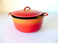 Cast Iron Descoware Dutch Oven Flame Orange by FreewheelFinds