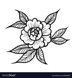 Tattoo rose flower art vector image on VectorStock Traditional Tattoo Flowers, Traditional Roses, Traditional Tattoo Vector, Flower Tattoo Drawings, Tattoo Sketches, Art Tattoos, Tattoo Stencils, Tattoo Fonts, Tattoo Quotes
