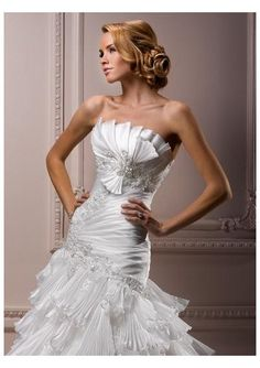 Satin and Organza Strapless Crumb-Catcher Neckline Rouched Bodice with Lace Applique Accents and Bow Accents Slim A-Line Bustled Skirt with Chapel Train 2012 New Arrival Wedding Dress WD-1465