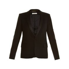 Saint Laurent Satin-lapel single-breasted blazer (32 805 ZAR) ❤ liked on Polyvore featuring outerwear, jackets, blazers, black, black satin shawl, black dinner jacket, black satin blazer, shawl collar jacket y dinner jacket