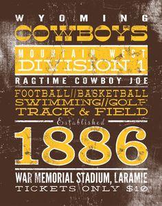 """Wyoming Cowboys Print, Custom to Your Team 11"""" x 14"""". $32.99, via Etsy."""