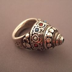 Afghanistan | Silver, turquoise and coral ring  | © Micheal Halter.