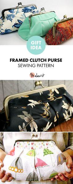 Flourish Clutch- pleated, framed purse sewing pattern – Purses And Handbags Diy Diy Purse, Clutch Purse, Diy Clutch, Purse Patterns, Sewing Patterns Free, Clutch Tutorial, Frame Purse, Diy Sewing Projects, Sewing Clothes