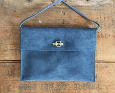 vintage suede purse // indigo blue leather bag // by LeMollusque, $28.00