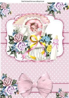 Sweet baby girl in flowered bootee wih bows A4 on Craftsuprint - Add To Basket!