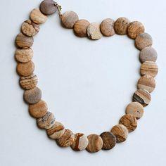 1980s brown jasper flat beaded necklace / 80s vintage