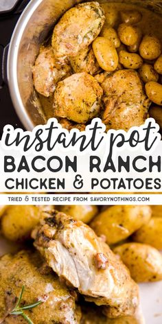 Instant Pot Bacon Ranch Chicken and Potatoes Try these Instant Pot Bacon Ranch Chicken and Potatoes when you're short on time – it's so quick to prep and tastes amazing! Chicken Breast Instant Pot Recipes, Frozen Chicken Recipes, Best Instant Pot Recipe, Instant Pot Dinner Recipes, Healthy Chicken Recipes, Instantpot Chicken Recipes, Chicken Thigh Recipes, Crockpot Frozen Chicken, Ranch Chicken Recipes