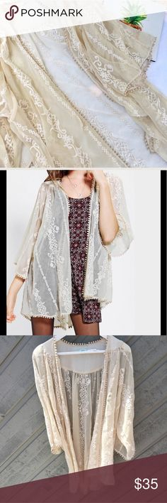 Urban outfitters lace kimono top Like new condition. Kimchi blue urban outfitters embroidered lace kimono. Free size. So gorgeous. Sold out very fast Urban Outfitters Tops