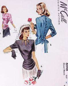 1940s Film Noir Draped Peplum Blouse Pattern McCALL 6948 Beautiful Button Back Overblouse  Cutout Neckline Version Bust 34 Vintage Sewing Pattern