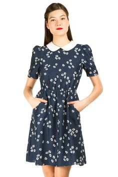 Keds for Opening Ceremony   collared silk dress   Puff-sleeve dress with Peter Pan collar   Elastic waistband   Hip pockets   Keyhole at back with button closure   100% silk   Made in USA.
